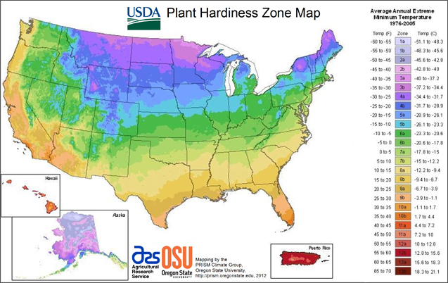 US Plant Hardiness Zone Map